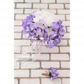 Gelin Çiçeği Zevahir Ortanca ve Güller Beyaz Erguvan Rengi 2li Set