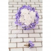Gelin Çiçeği Zevahir Ortanca ve Güller Beyaz Erguvan Rengi 2li Set-2