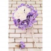 Gelin Çiçeği Zevahir Ortanca ve Güller Beyaz Erguvan Rengi 2li Set-3