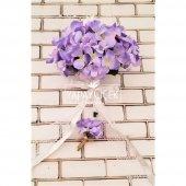 Gelin Çiçeği Zevahir Ortanca ve Güller Beyaz Erguvan Rengi 2li Set-4