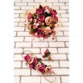 Gelin Çiçeği Athene 3lü Set (Gelin Buketi, Gelin Tacı, Yaka Çiçeği)
