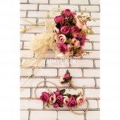 Gelin Çiçeği Athene 3lü Set (Gelin Buketi, Gelin Tacı, Yaka Çiçeği)-2