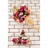 Gelin Çiçeği Athene 3lü Set (Gelin Buketi, Gelin Tacı, Yaka Çiçeği)-3