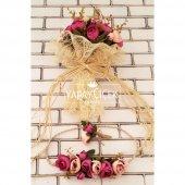Gelin Çiçeği Athene 3lü Set (Gelin Buketi, Gelin Tacı, Yaka Çiçeği)-4
