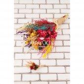 Kuru Çiçek Gelin Buketi Yoko Naturel Kırmızı Turuncu Sarı 2li Set-2