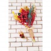 Kuru Çiçek Gelin Buketi Yoko Naturel Kırmızı Turuncu Sarı 2li Set-3