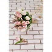 Islak Lale Gelin Çiçeği 2li Set Beyaz- Pembe