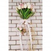 Islak Lale Gelin Çiçeği 2li Set Beyaz- Pembe-3
