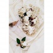Beyaz Güller Cipso Kuru Çiçek Şöleni Gelin Çiçeği 2li Set-2
