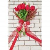 Kırmızı Islak Lale Gelin Çiçeği 2li Set-3