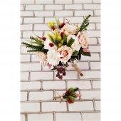 Polya Somon Beyaz Güller Gelin Buketi 2li Set