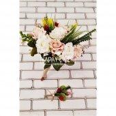 Polya Somon Beyaz Güller Gelin Buketi 2li Set-2