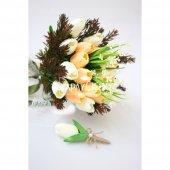 ıslak Lale Gelin Çiçeği 2li Set Somon Beyaz