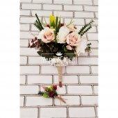 Polya Somon Beyaz Güller Gelin Buketi 2li Set-5