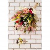 İtopya Büyük Kuru Çiçek Gelin Buketi 2li Set