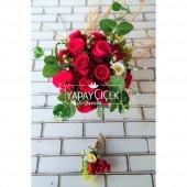 Kırmızı Güller Ve Papatya Gelin Çiçeği 2li Set...