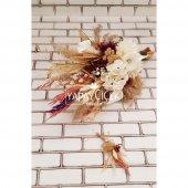 Gelin Buketi Loki Beyaz Kasımpatı Naturel Kuru Çiçek Şöleni 2li Set-2