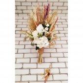 Gelin Buketi Loki Beyaz Kasımpatı Naturel Kuru Çiçek Şöleni 2li Set-4
