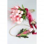 ıslak Lale Gelin Çiçeği 3lü Set Pembeli