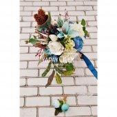 Bellanca Mavi Beyaz Ortanca Lilyum Şakayık Güller Karnavalı Gelin Buketi 2li Set