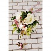 Hermia Beyaz Güller Orkide Şöleni Gelin Buketi 2li Set-4
