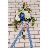 Bellanca Mavi Beyaz Ortanca Lilyum Şakayık Güller Karnavalı Gelin Buketi 2li Set-4