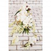 Sarkan Sümbül Orkide Lilyum Kokteyli Gelin Çiçeği Beyaz 3lü set