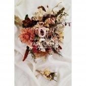Agata Pastel Kahve Tonlar Gelin Çiçeği 2li Set