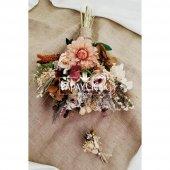 Agata Pastel Kahve Tonlar Gelin Çiçeği 2li Set-3