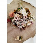 Agata Pastel Kahve Tonlar Gelin Çiçeği 2li Set-5