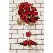 Kırmızı Güller Cipso Şöleni Gelin Çiçeği 3lü...