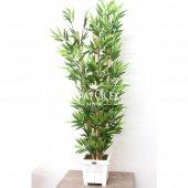 Yapay Bambu Ağacı 6 Gövde 140 cm(Beyaz Ahsap Saksı)