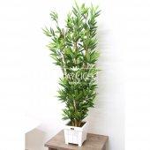 Yapay Bambu Ağacı 6 Gövde 140 cm(Beyaz Ahsap Saksı)-2