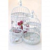 3lü Ferforje Kafes Çiçeklik Kuşlu Model Beyaz