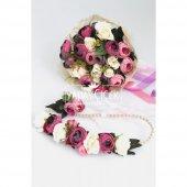 Gelin Çiçeği Ranya 3lü Set (Gelin Buketi, Yaka Çiçeği ve Gelin Tacı)