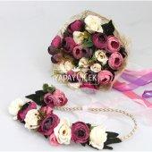 Gelin Çiçeği Ranya 3lü Set (Gelin Buketi, Yaka Çiçeği ve Gelin Tacı)-2