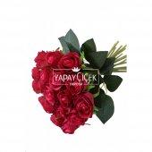 Yapay Çiçek 18li Tomur Gül Buketi Fusya-Kırmızı-2