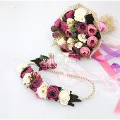 Gelin Çiçeği Ranya 3lü Set (Gelin Buketi, Yaka Çiçeği ve Gelin Tacı)-3