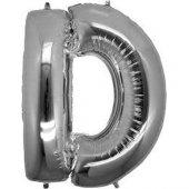 D Harf Folyo Balon Gümüş 100 Cm (1 Metre)