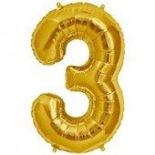 3 Rakam Folyo Balon Gold 40 Cm (16 İnç)