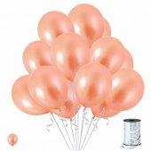 Metalik Somon Renk Balon 15 Adet