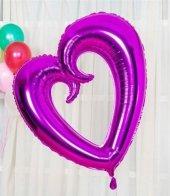 Mor Renk İçi Boş Kalp Folyo Balon
