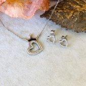 925 Ayar Gümüş Kraliçe Taç Kolye ve Kalp Küpe Kombin-2