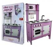 2020 Model-Oyuncak Ahşap Oyuncak Pembe Mutfak Seti -Süper Ürün-7