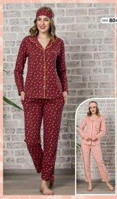 Kadın Retro Biyeli Önden Düğmeli Uzun Kollu Çizgili Pijama Takımı