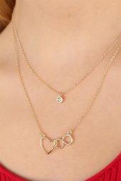Kalp ve Sonsuzluklu Gold Renk Taşlı Bayan Kolye-2
