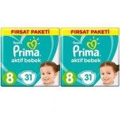 Prima Bebek Bezi Aktif Bebek 8 Beden 62 Adet (31x2) Fırsat Paketi
