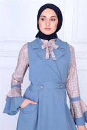 Yaka Detaylı Tesettür Elbise Bebe Mavisi