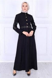 Nakış Detaylı Tesettür Elbise Siyah