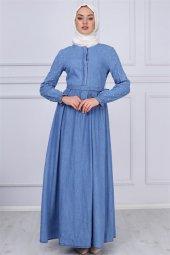Inci Ve Kemer Detaylı Tesettür Kot Elbise Açık